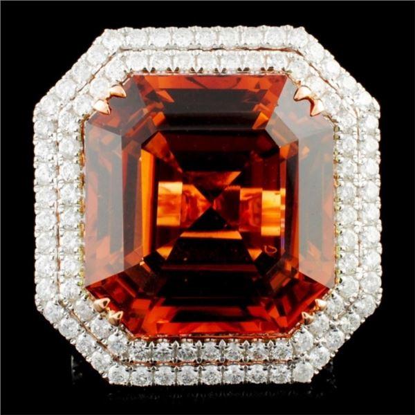 18K Gold 30.21ct Tourmaline & 1.89ctw Diamond Ring