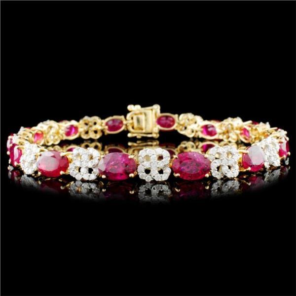 14K Gold 15.14ct Ruby & 1.74ctw Diamond Bracelet