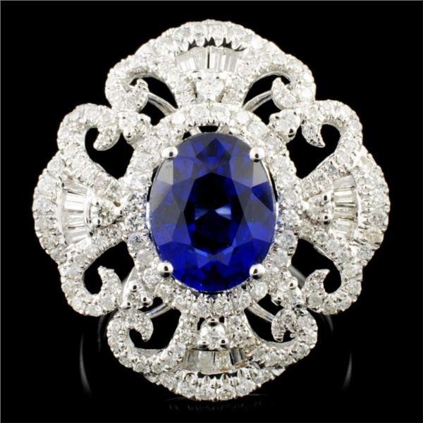 14K Gold 3.51ct Sapphire & 1.15ctw Diamond Ring