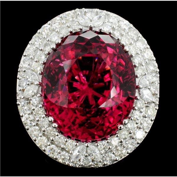 18K Gold 31.86ct Tourmaline & 2.28ct Diamond Ring