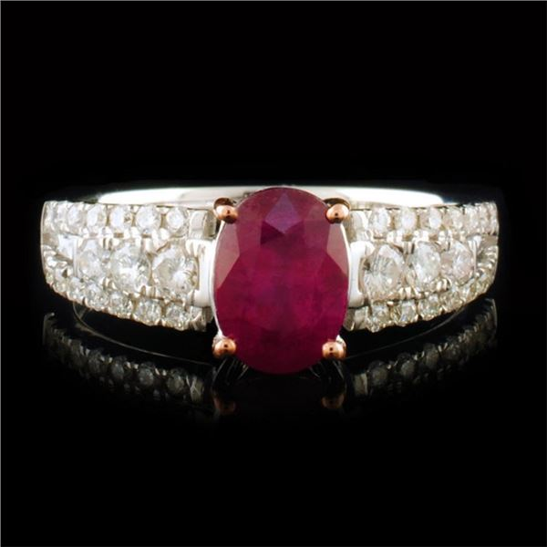 14k White Gold 1.44ct Ruby & 0.42ctw Diamond Ring