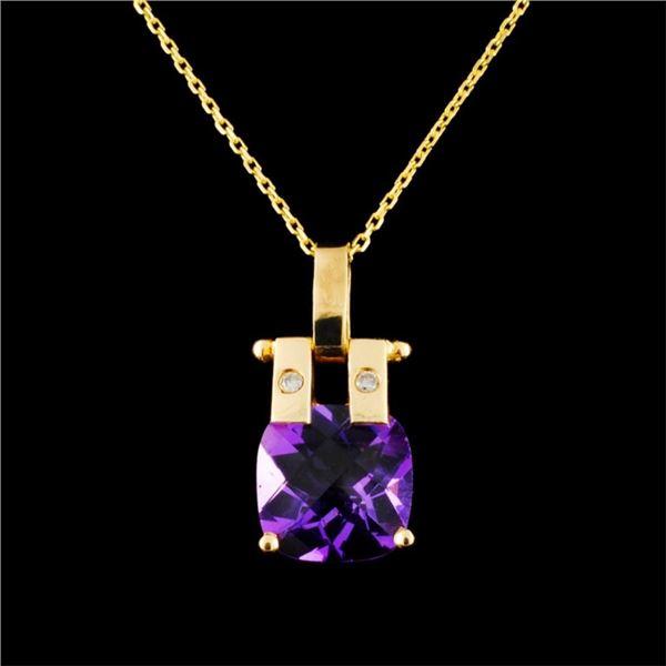 14K Gold 2.43ct Amethyst & 0.03ctw Diamond Pendant