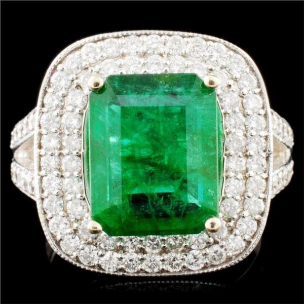 18K Gold 3.80ct Emerald & 1.09ctw Diamond Ring