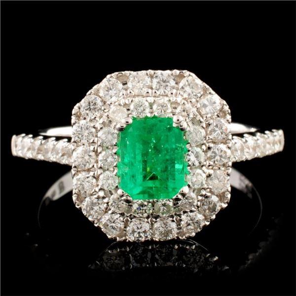 18K Gold 0.62ct Emerald & 0.79ctw Diamond Ring