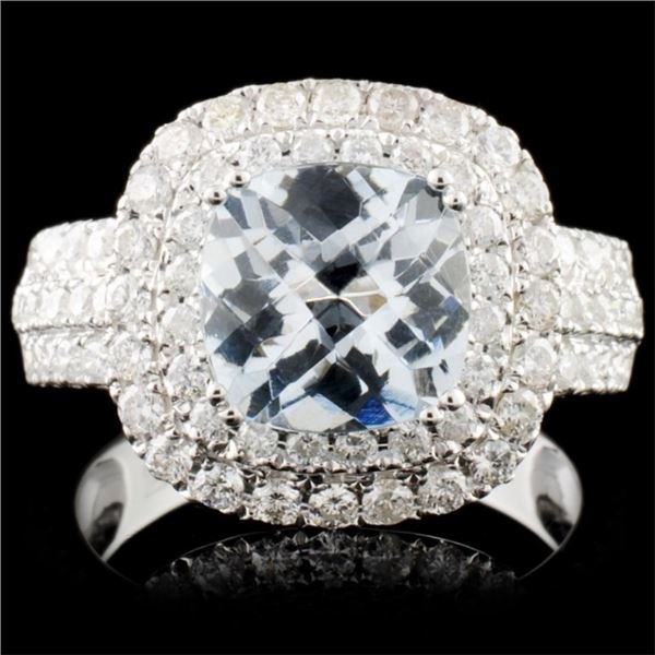 14K Gold 1.98ct Aquamarine & 1.05ct Diamond Ring