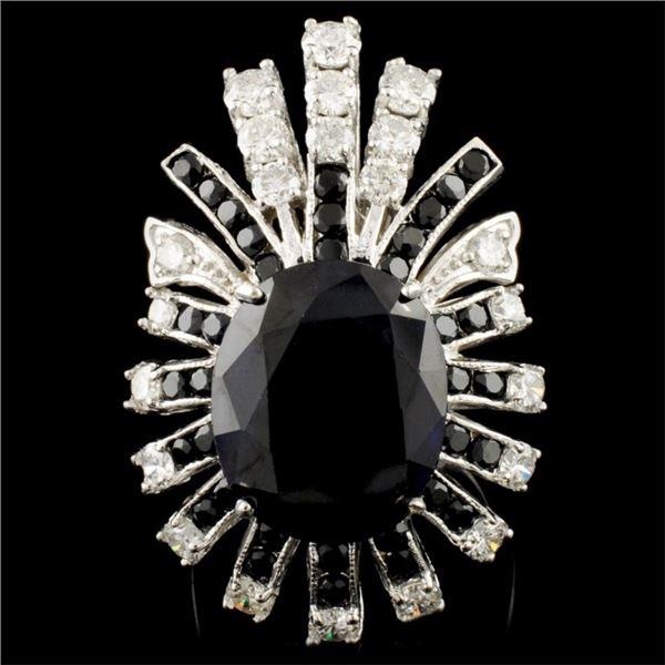 14K Gold 11.63ct Sapphire & 2.18ctw Diamond Ring