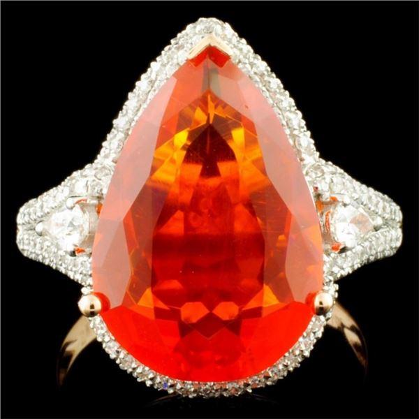 14K Gold 4.90ct Opal & 0.64ctw Diamond Ring