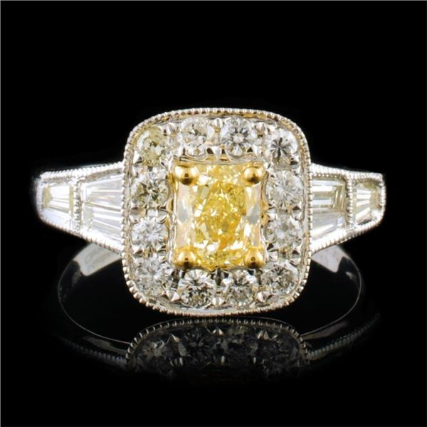 18k White Gold 1.42ctw Fancy Yellow Diamond Ring