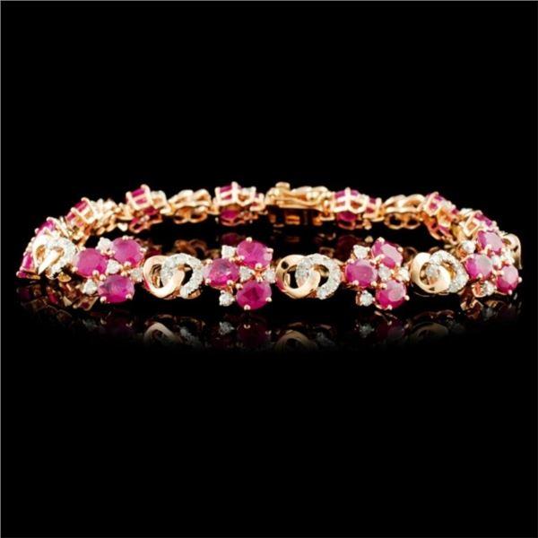 14K Gold 6.53ctw Ruby & 1.45ctw Diamond Bracelet