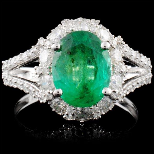 18K White Gold 2.25ct Emerald & 1.17ctw Diamond Ri