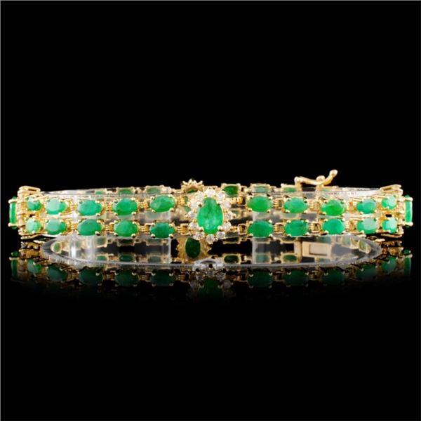 14K Gold 12.00ctw Emerald & 1.50ctw Diamond Bracel