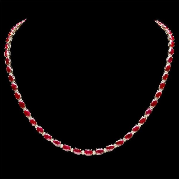 `14k Gold 27.00ct Ruby & 1.25ct Diamond Necklace