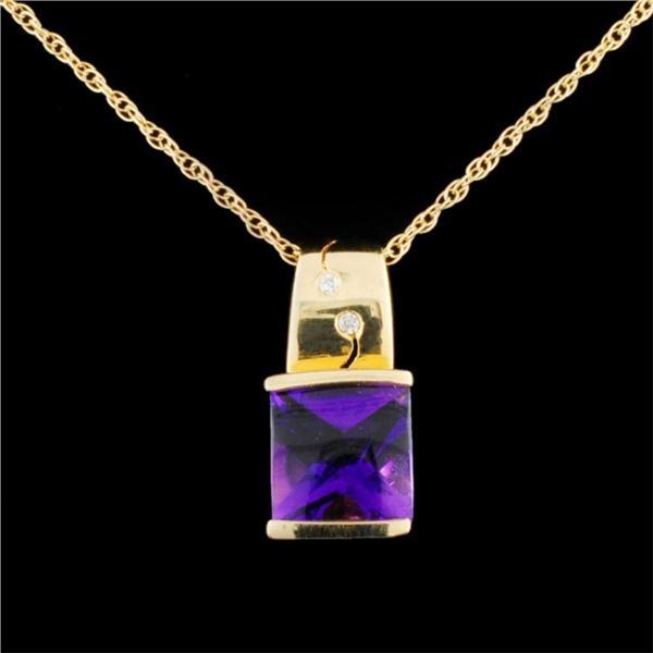 14K Gold 2.50ct Amethyst & 0.03ctw Diamond Pendant