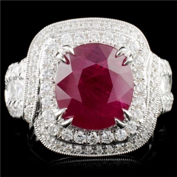 18K Gold 5.10ct Ruby & 1.70ct Diamond Ring