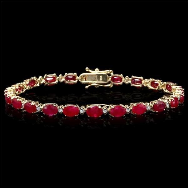 `14k Gold 12.00ct Ruby & 0.50ct Diamond Bracelet
