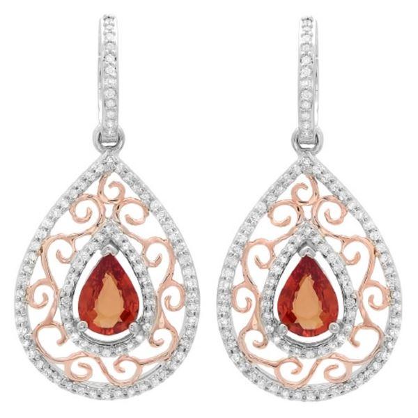 14K Gold 2.00 Orange Sapphire & 0.80ct Diamond Ear