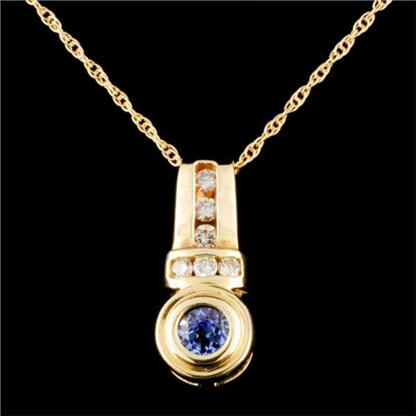 14K Gold 0.47ct Tanzanite & 0.25ctw Diamond Pendan
