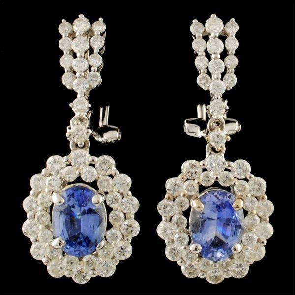18K Gold 2.56ct Sapphire & 2.36ctw Diamond Earring