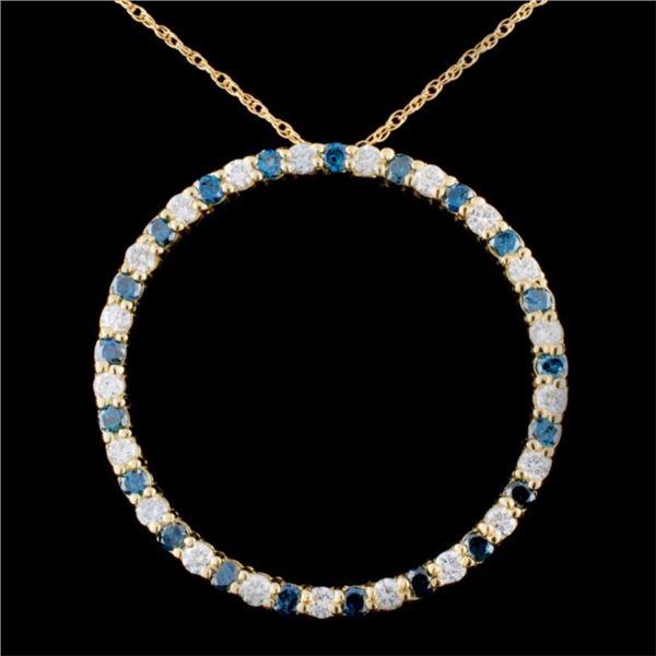 14K Gold 1.78ctw Fancy Diamond Pendant