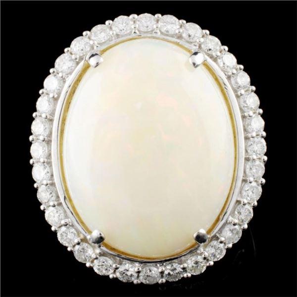 14K Gold 13.31ct Opal & 1.45ctw Diamond Ring