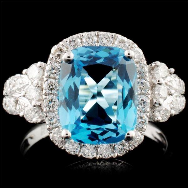 14K Gold 3.42ct Topaz & 0.74ctw Diamond Ring