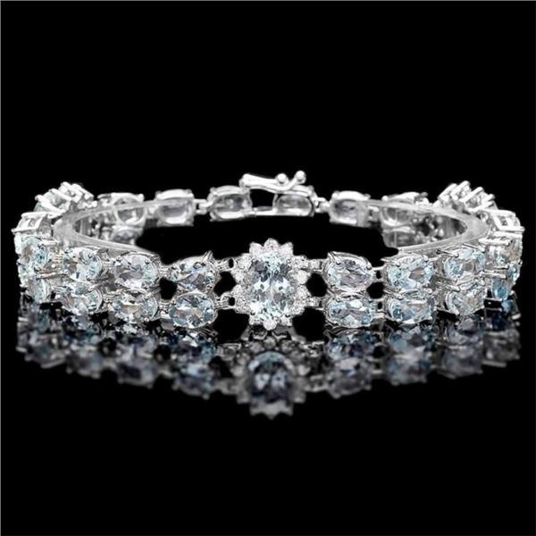 `14k Gold 25.00ct Aquamarine & 1.50ct Diamond Brac