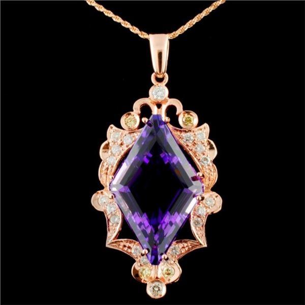14K Gold 16.61ct Amethyst & 1.00ctw Diamond Pendan