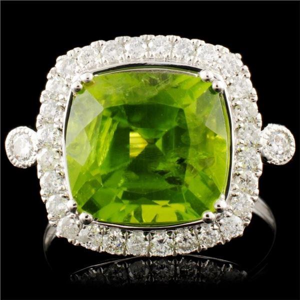 14K Gold 5.46ct Peridot & 0.46ctw Diamond Ring