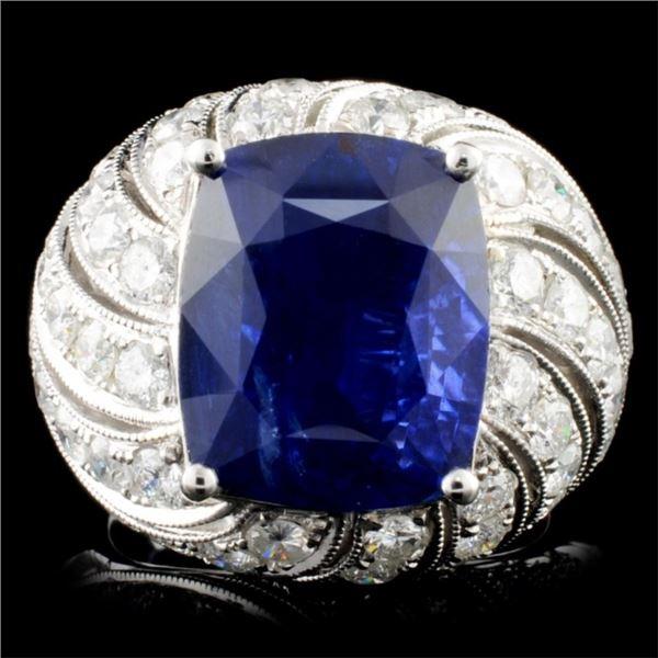 18K Gold 10.60ct Sapphire & 2.87ctw Diam Ring