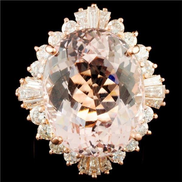 14K Gold 18.75ct Morganite & 2.26ctw Diamond Ring