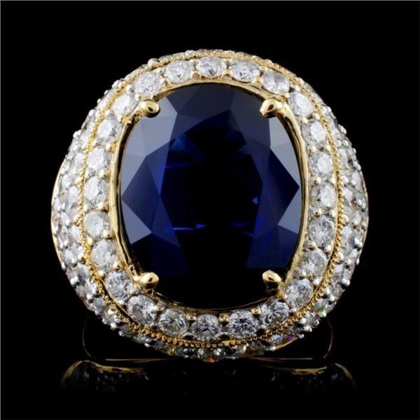 18K Yellow Gold 7.60ct Sapphire & 3.08ct Diamond R