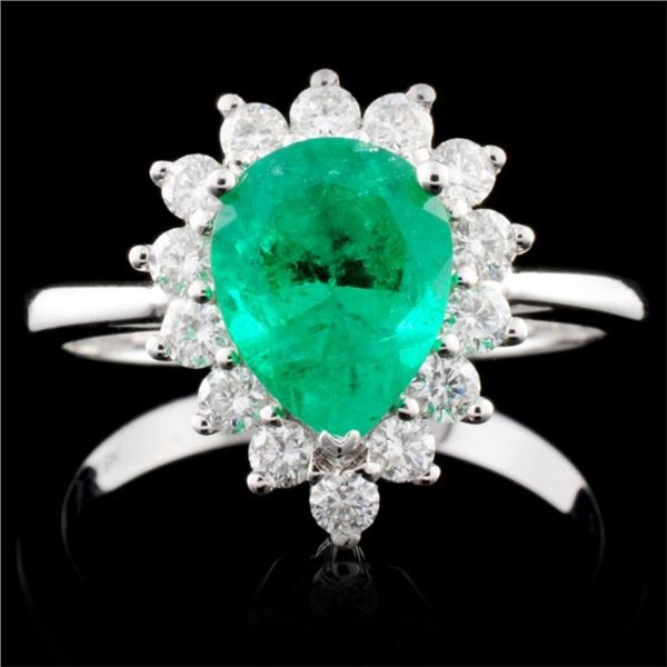 18K Gold 1.33ct Emerald & 0.44ctw Diamond Ring
