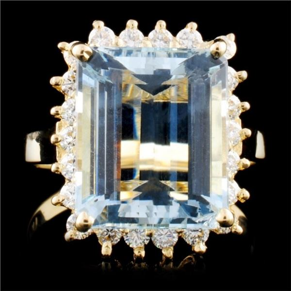 14K Gold 5.45ct Aquamarine & 0.52ctw Diamond Ring