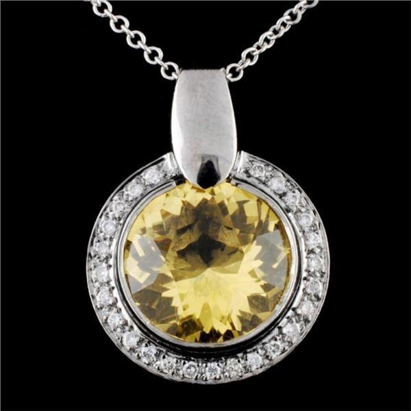 14K Gold 5.00ct Beryl & 0.30ct Diamond Pendant