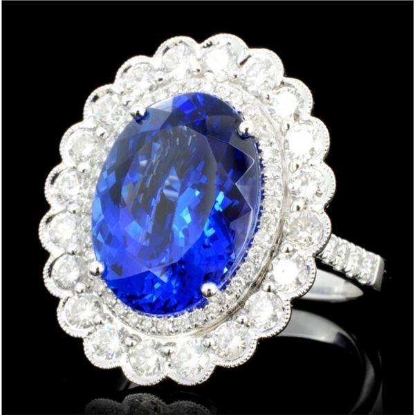 18K Gold 7.59ct Tanzanite & 1.51ct Diamond Ring