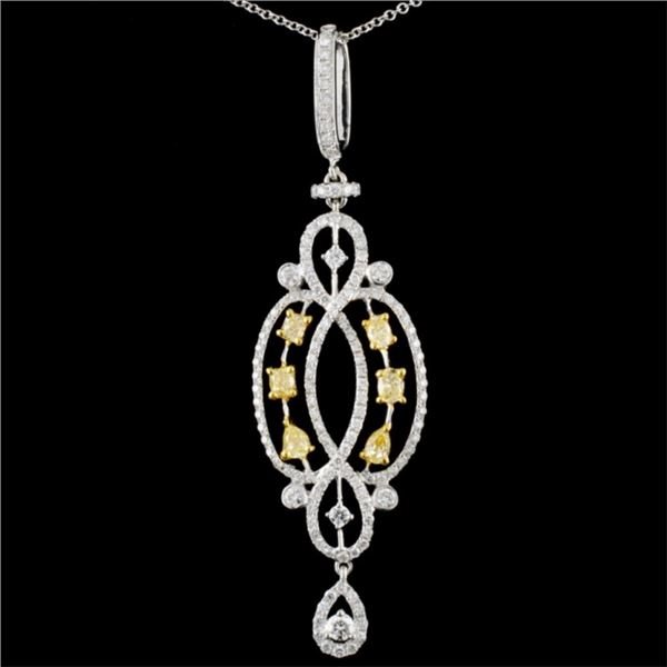 18K Gold 1.24ctw Fancy Diamond Pendant