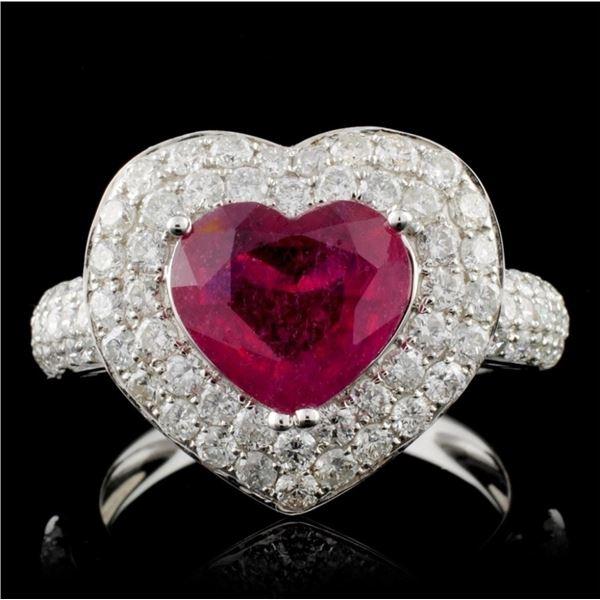 18K White Gold 2.38ct Ruby & 1.31ct Diamond Ring