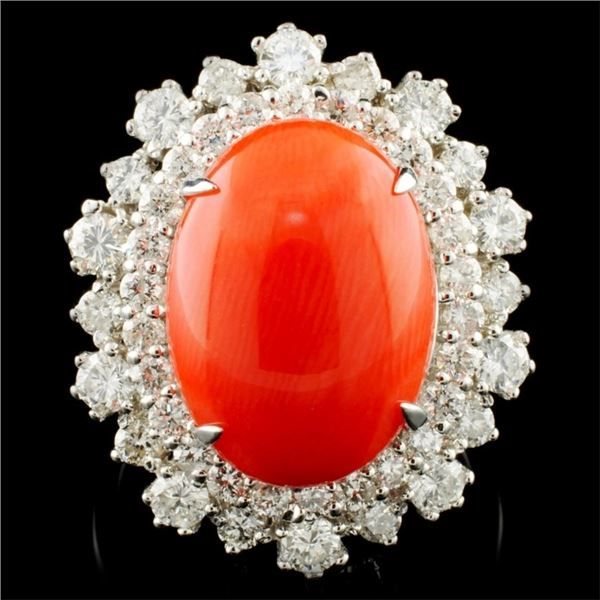 14K Gold 5.47ct Coral & 1.82ctw Diamond Ring