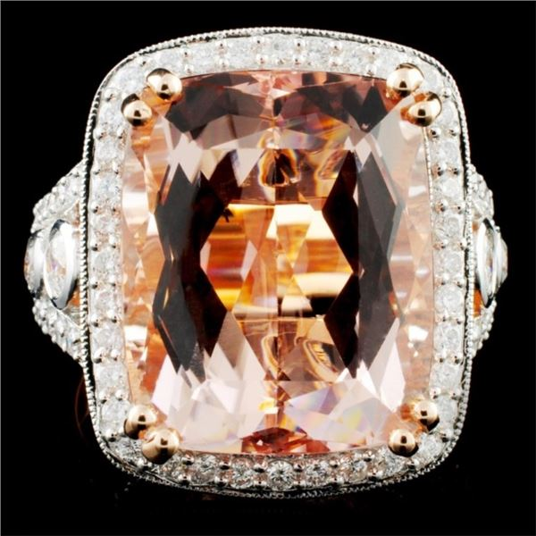 14K Rose Gold 13.88ct Morganite & 1.53ct Diamond R
