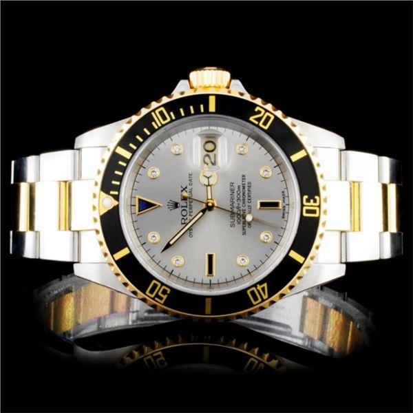 Rolex Two Tone Submariner Diamond Wristwatch
