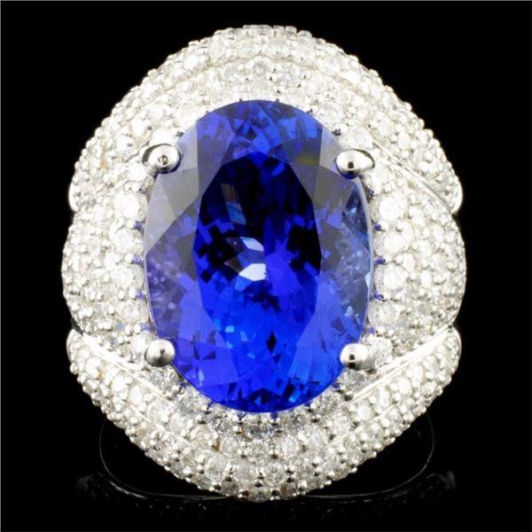 18K Gold 8.30ct Tanzanite & 2.18ctw Diamond Ring