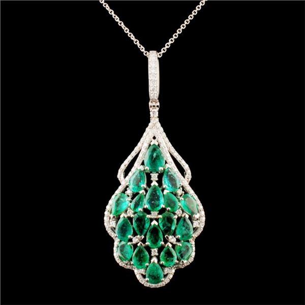 14K Gold 6.58ctw Emerald & 0.87ctw Diamond Pendant