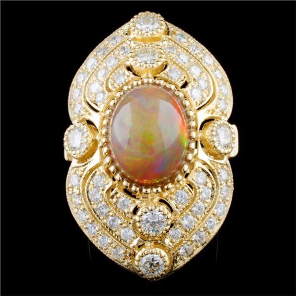 14K Gold 4.01ct Opal & 2.85ctw Diamond Ring