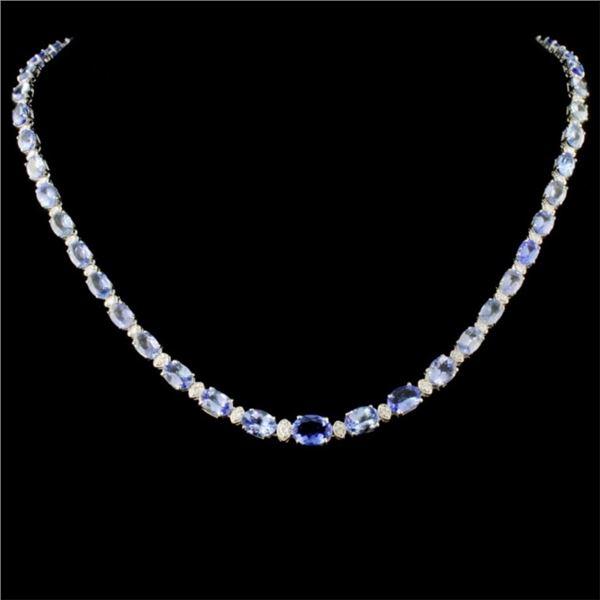 14K Gold 30.00ct Tanzanite & 1.75ctw Diamond Neckl
