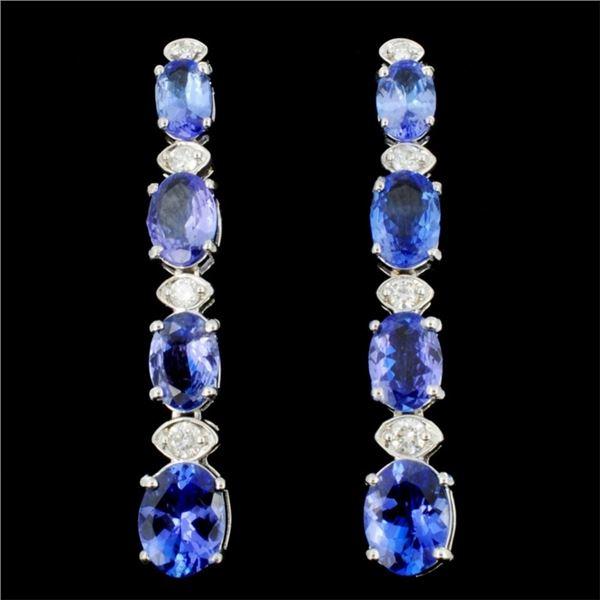 14K Gold 5.00ct Tanzanite & 0.35ctw Diamond Earrin