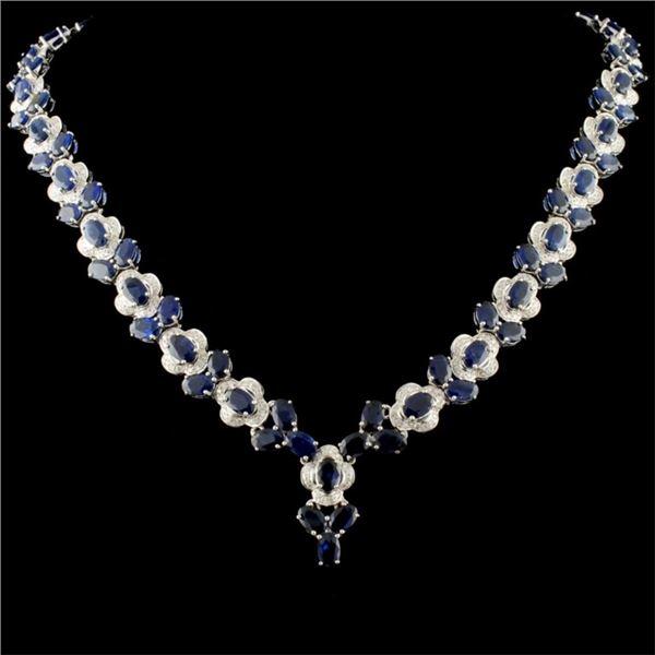 14K Gold 45.55ct Sapphire & 2.70ctw Diamond Neckla
