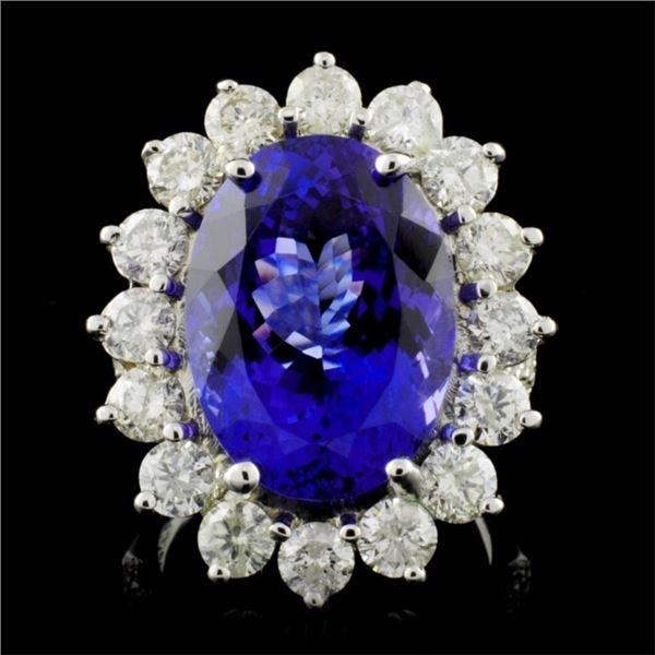 14K W Gold 12.16ct Tanzanite & 3.05ct Diamond Ring