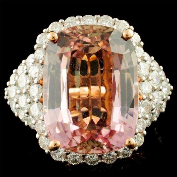 14K Gold 20.05ct Tourmaline & 2.88ctw Diamond Ring