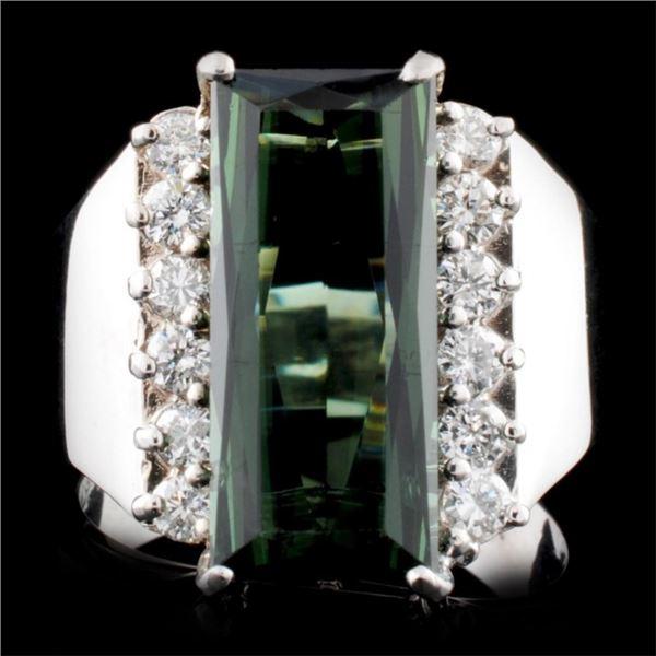 14K Gold 4.01ct Tourmaline & 0.48ctw Diamond Ring