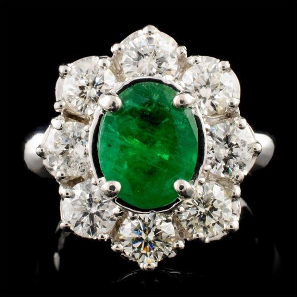 14K Gold 3.00ct Emerald & 1.90ctw Diamond Ring